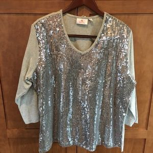 Silver and grey sequin shirt size XL